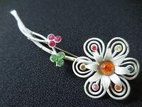 Vintage Rhinestone Enamel White Flower Brooch Pin