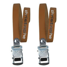 Dark Brown Leather Zefal Christophe 516 Leather Toe Clip Straps L'Eroica Retro