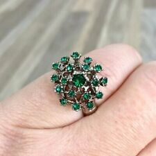Green Colored Rhinestone Fancy Cocktail Ring