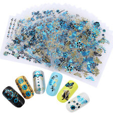 24Sheets 3D Nail Stickers Blue Leaf Butterfly Manicure Decorations Tips DIY