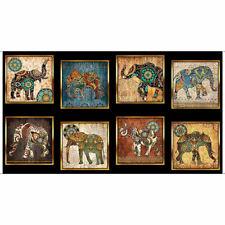 Caravan Quilting Cotton Fabric PANEL 8 x Bohemian Elephants BLACK Border