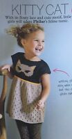 KNITTING PATTERN Girls Cat Motif + Lace Tunic Short Sleeve Top Childrens Phildar