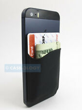 BLACK SILICONE POCKET ID CARD/MONEY HOLDER FOR PHONES/CASES STICKY REAR ADHESIVE