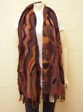 Tolani Wool Lycra Abstract Print Scarf in Brown NWT