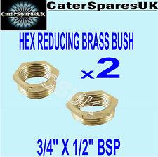 "BRASS HEX riducendo Bush 3//4 /""x 1//2/"" MASCHIO X FEMMINA gas riduttore idraulico spares"