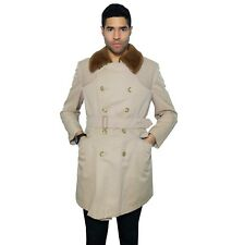GENUINE BURBERRY Trench Coat Prorsum Vtg Belt Faux Fur Collar Double Men Medium