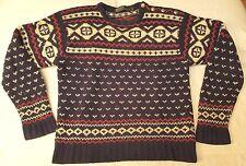 Polo Ralph Lauren Hand Knit sweater women sz S navy 100% wool christmas