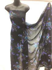 Designer Chiffon Glitter Floral / Paisley Print   Black Base  Wedding Light