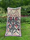 authentic vintage Moroccan Azilal wool cotton shaggy rug berber clean 4' x 7'