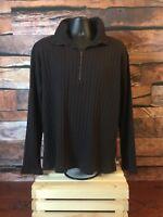 Tommy Hilfiger Men's XL 1/4 Zip Pullover Sweater Black Cotton Size XL