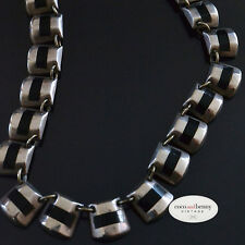 *Vintage SUPERB 40's Taxco Mexican St Silver Onyx Choker Necklace 41g