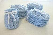 Small Hand-Crocheted Gift Bags Party Favors Baby Shower Birthday Boy Blue White