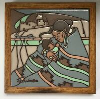Cleo Teissedre Framed Tile Trivet Wall Hanging Native American Mother Child 1986