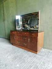 More details for mid century 1950's lacquered walnut dressing table by golden key