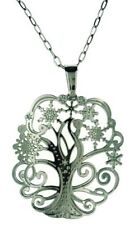 """Filigree Design Tree Pendant Snowflakes Stainless Steel 18"""" Cable Chain NC1434"""