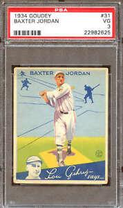 1934 Goudey #31 Baxter Jordan PSA 3 22982625