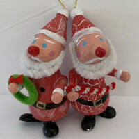 Vintage Santa Claus Elf painted marbled Wood Ornaments Christmas Decor Lot Of 2