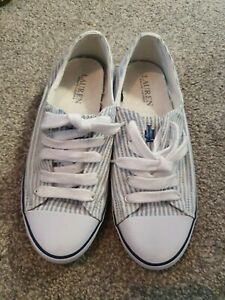 Womens Ralph Lauren Blue/white Trainer's Size 6 (More Of A 4)
