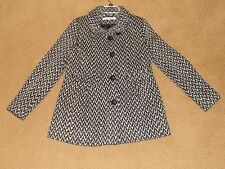 Kenneth Cole NY NEW WOMEN'S WOOL Blend COAT Black And White Chevron JACKET SZ 10
