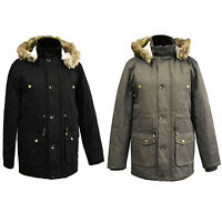 MENS PARKA JACKET FISHTAIL PARKER FUR HOOD WINTER QUILTED PADDED WARM COAT S-3XL