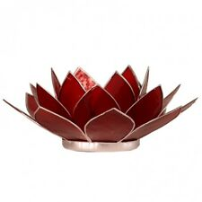 FindSomethingDifferent Lotus Chakra Candle Holder Capiz Shell Red Silver Trim