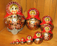 Genuine Russian Hand Painted Matryoshka Nesting Dolls 10 RED BLACK GOLD Aymasova