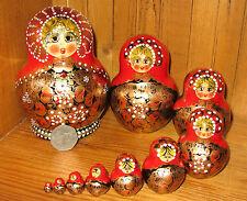 Russian Hand Painted Matryoshka Nesting Doll 10 Piece RED BLACK GOLD Aymasova