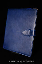 iPad 2 3 & 4 (Blue Washed Lambskin) Real Genuine Leather Cover Case Stand Folio