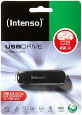 Intenso USB Stick 64GB Speicherstick Speed Line schwarz USB 3.0