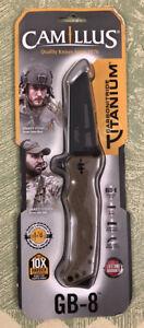 """Camillus GB 8 Carbonnitride Titanium 3.25"""" AUS-8 Steel Blade Folding Knife"""