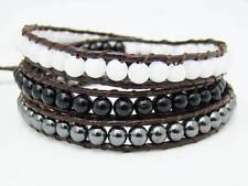 3 Wrap Bracelet  4mm  BLACK WHITE MARBLE beads HEMATITE fashion bracelet