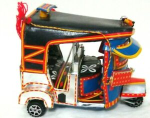 Traditional Art Handcrafted Home Table Decor. Leather Rickshaw -
