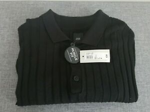 New with Tags Large River Island Mens Black Muscle Fit Knitted Polo Shirt Jumper