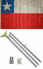 3x5 Chile Flag Aluminum Pole Kit Set 3'x5'
