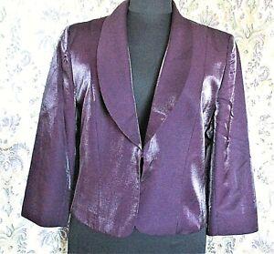 Purple shimmer sheen wool mix party/wedding jacket by KALIKO  Size 14