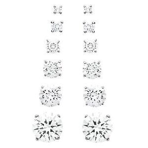 Man Earrings DIAM'S 4 Claws Zircon Silver Any Size