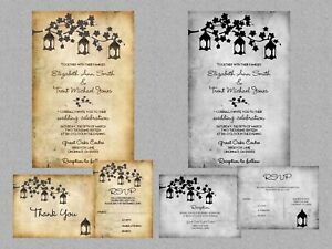 Rustic Country Lanterns Tree Branch Lights Wedding Invitations