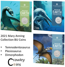 2021 Mary Anning Complete Set UK 50p BU Coins in Royal Mint Sealed Pack Dinos