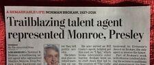 1927 - 2016 OBITUARY  NORMAN BROKAW TALENT AGENT MARILYN MONROE ELVIS PRESLEY