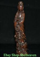 """8"""" Old Chinese Boxwood Hand Carving Feng Shui Kwan-yin Guan Yin Lotus Statue"""