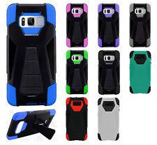 For Samsung Galaxy S8 / S8 PLUS Turbo HYBRID KICKSTAND Rubber Cover+Screen Guard