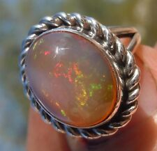 Sterling Silver 6.15cts Mexican Fire Opal Gemstone Ring Size 5 1/2 New Jewelry