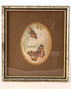 Vintage Charles Berisford 1858 Butterfly Jacquard Woven Picture Weave Tapestry