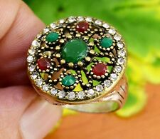 """Emerald Ruby Gemstone Victorian Turkish Silver Plated Ring Size US 7 3/4"""" GJR841"""