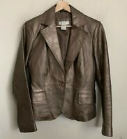 Worthington Womens Jacket Bronze Leather Button Pockets Lined Size S