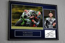 """Tom Sykes Kawasaki Motor Cycle Framed Canvas Print Signed """"Great Gift"""""""