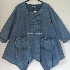 LA BASS lässige Jeans Tunika A-Linie + Long-Taschen denim 48-50-52 (2)
