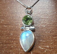 Faceted Peridot and Moonstone 2-Gem 925 Sterling Silver Pendant