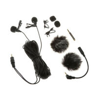 Dual-Head Lapel Lavalier Condenser Microphone Mic for Smartphones, NEW