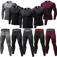Mens Compression Legging Shirt Under Base Layers Workout Gym Long Sleeve Wicking